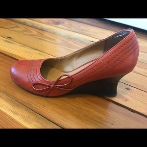 Two Lips burnt orange wedge heels Sz 9